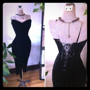 80s Vtg Black Velvet  Corset Cocktail Dress